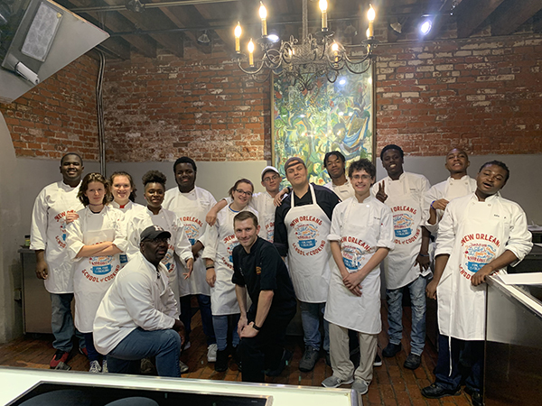 Vicksburg-Warren School District Culinary Arts II students pictured with New Orleans Chef Mark Guillory.